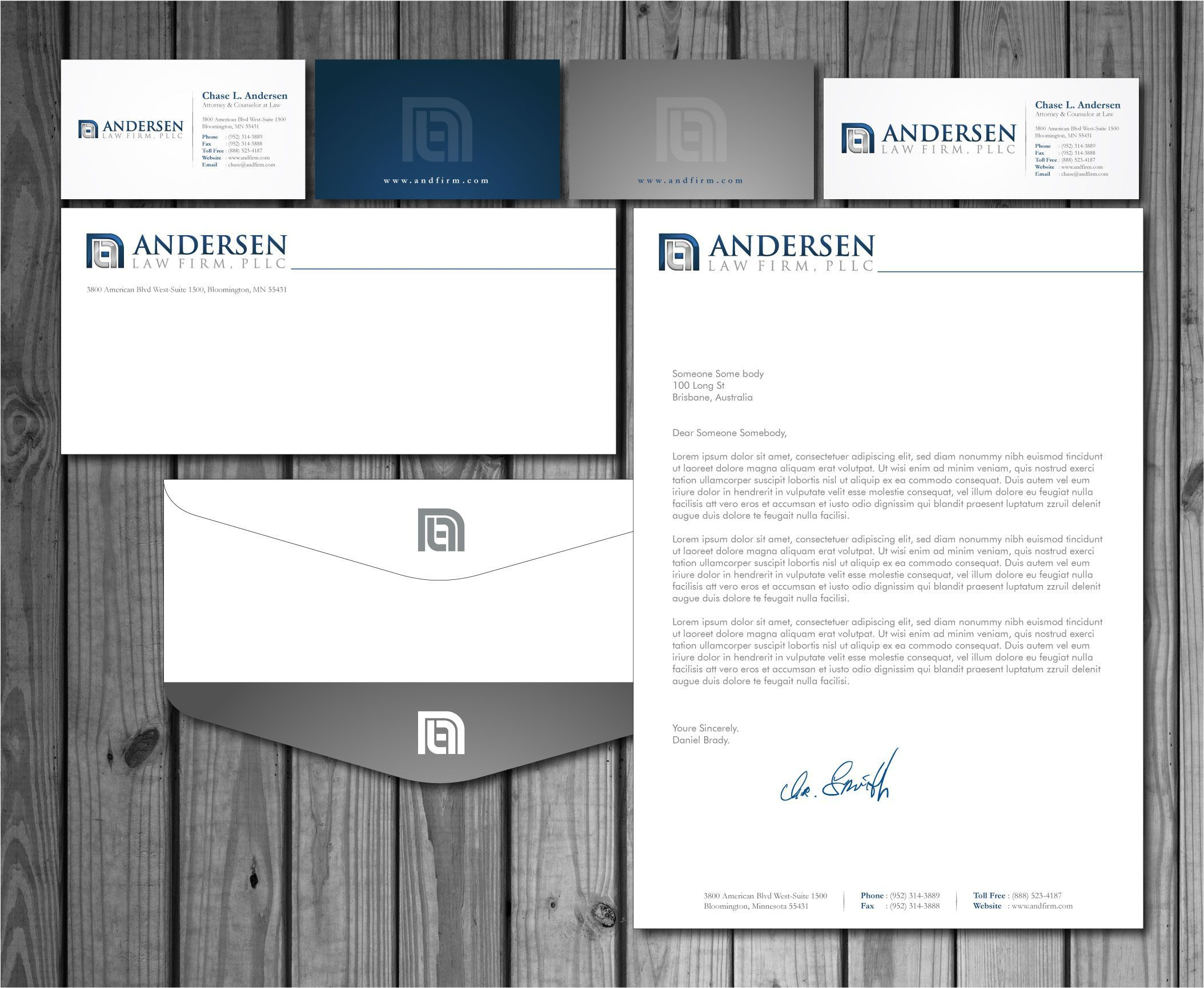 Check Out This Design For Andersen Law Firm Pllc Business Cards Letterhead Envelopes By Mycroburs Letterhead Business Law Firm Logo Design Letterhead Template