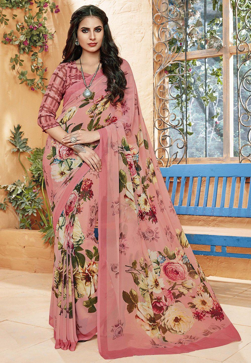Buy Floral Printed Georgette Saree In Old Rose Online Item Code Sew4483 Color Pink Occasion Casu Designer Saree Blouse Patterns Floral Print Sarees Saree