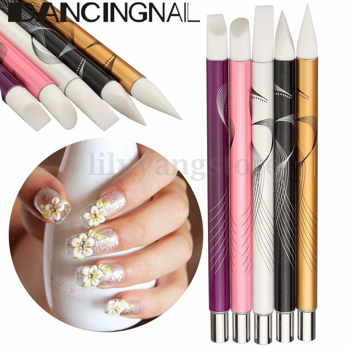 5Pcs Metal Acrylic Handle Nail Art Silicon Head Painting Pen Nail ...