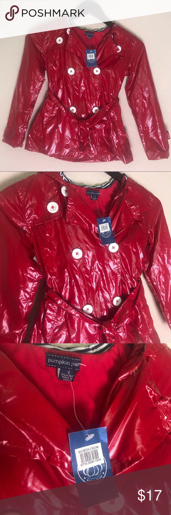 Nordstrom pumpkin patch red raincoat jacket size 7 Nordstrom pumpkin patch red raincoat jacket size 7 Little girls rain jacket  Lined and hooded Extra button inside  Great quality item New with tags ????  My daughter never got to wear it pumpkin patch Jackets & Coats Raincoats #pumpkinpatchoutfit