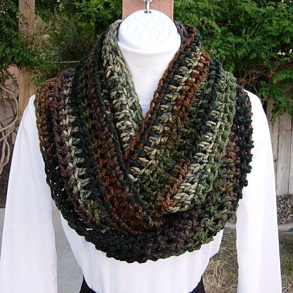 Blue /& Green Infinity Scarf Soft Handmade Warm Crochet Knit Circle Winter Loop