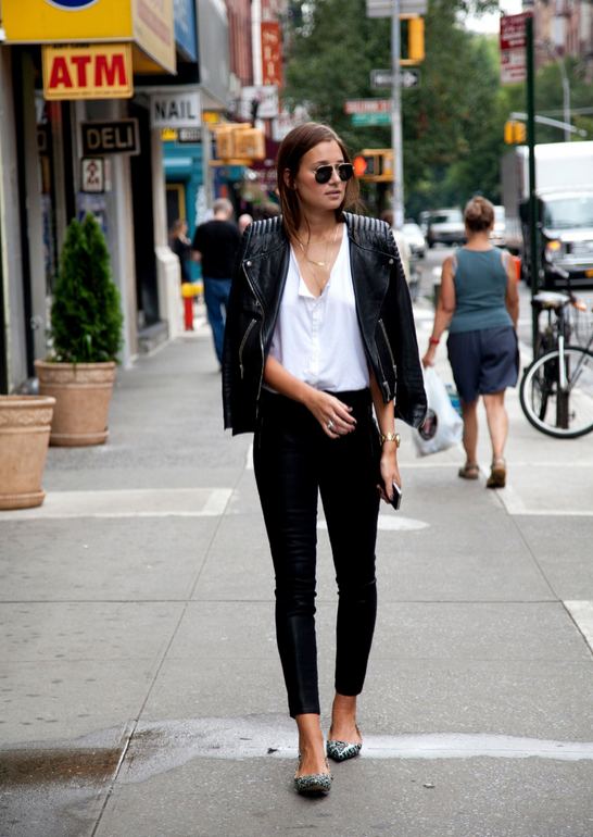 Leather jacket, aviators and flats