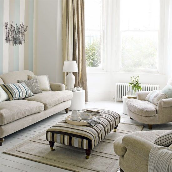 Pastel Living Room Living Room Decorating Ideas Striped Wallpaper
