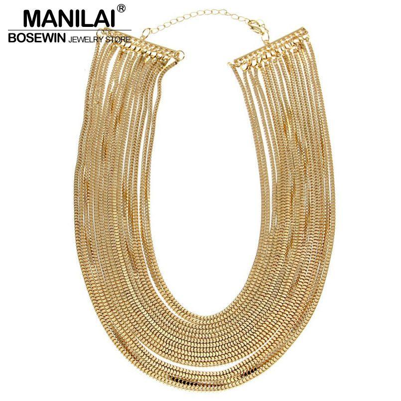 MANILAI Frauen Erklaerung Schmuck Mode Multilayer Kette Breite Anhänger Bib Halsketten Bijoux Femininas Maxi Collares