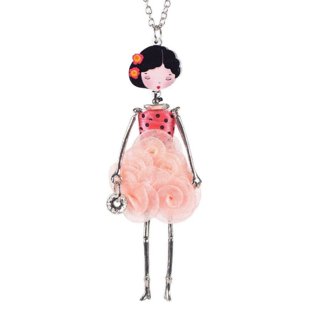 Bonsny doll necklace rose dress