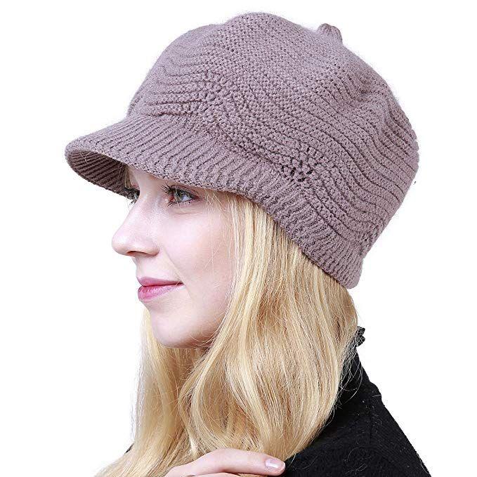 4c3c48861bd5 Women's Winter Hat Slouchy Cable Knit Visor Crochet Beanie Hats Warm Snow  Ski Skull Cap with Brim Khaki