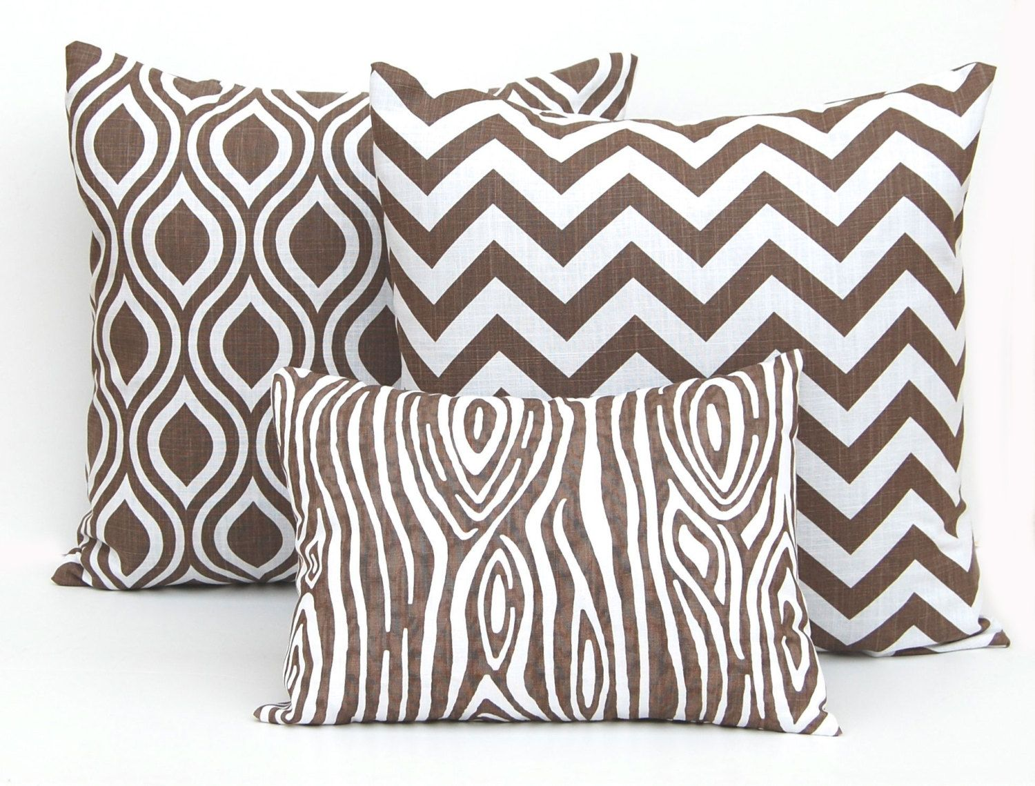 Pillow covers coordinating set of three italian brown x plus a