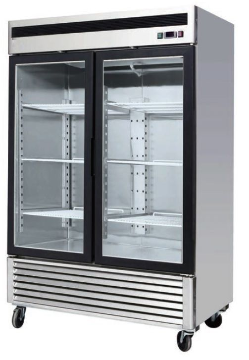Refrigerator Reach In Glass Door Bottom Mount 2 Section Model