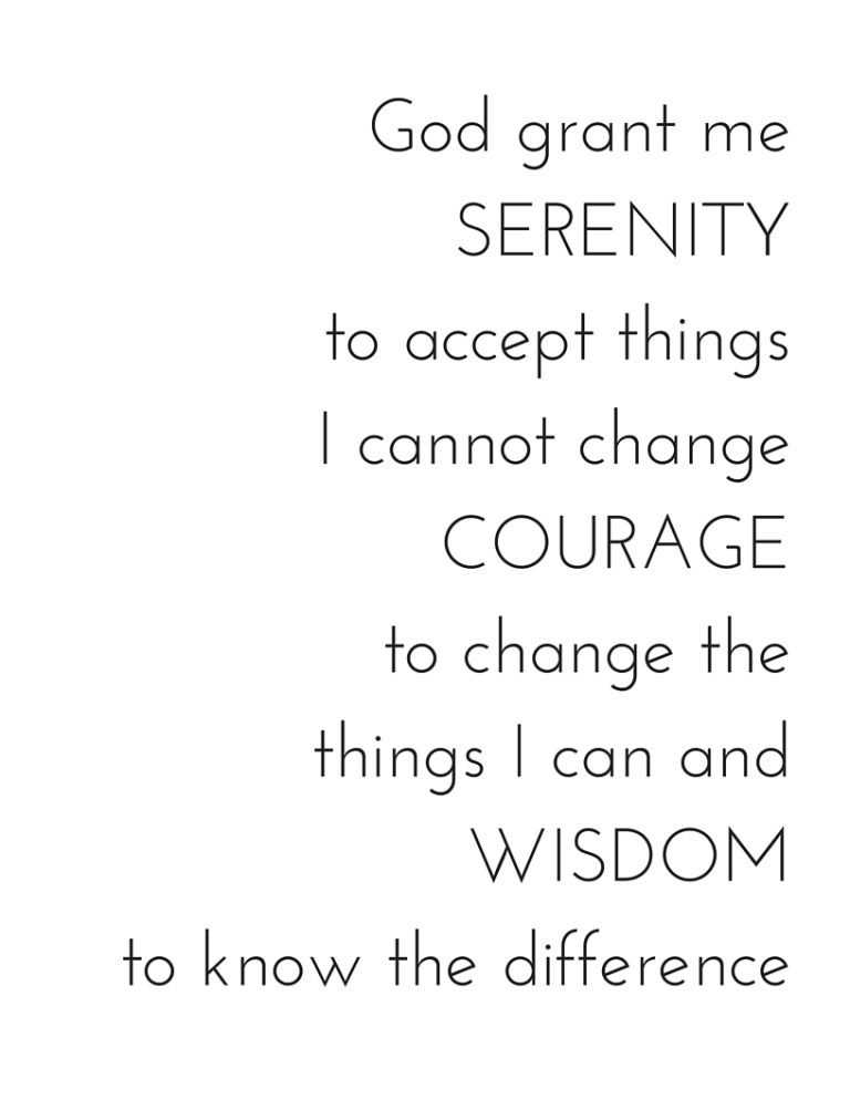 Serenity Prayer Printable