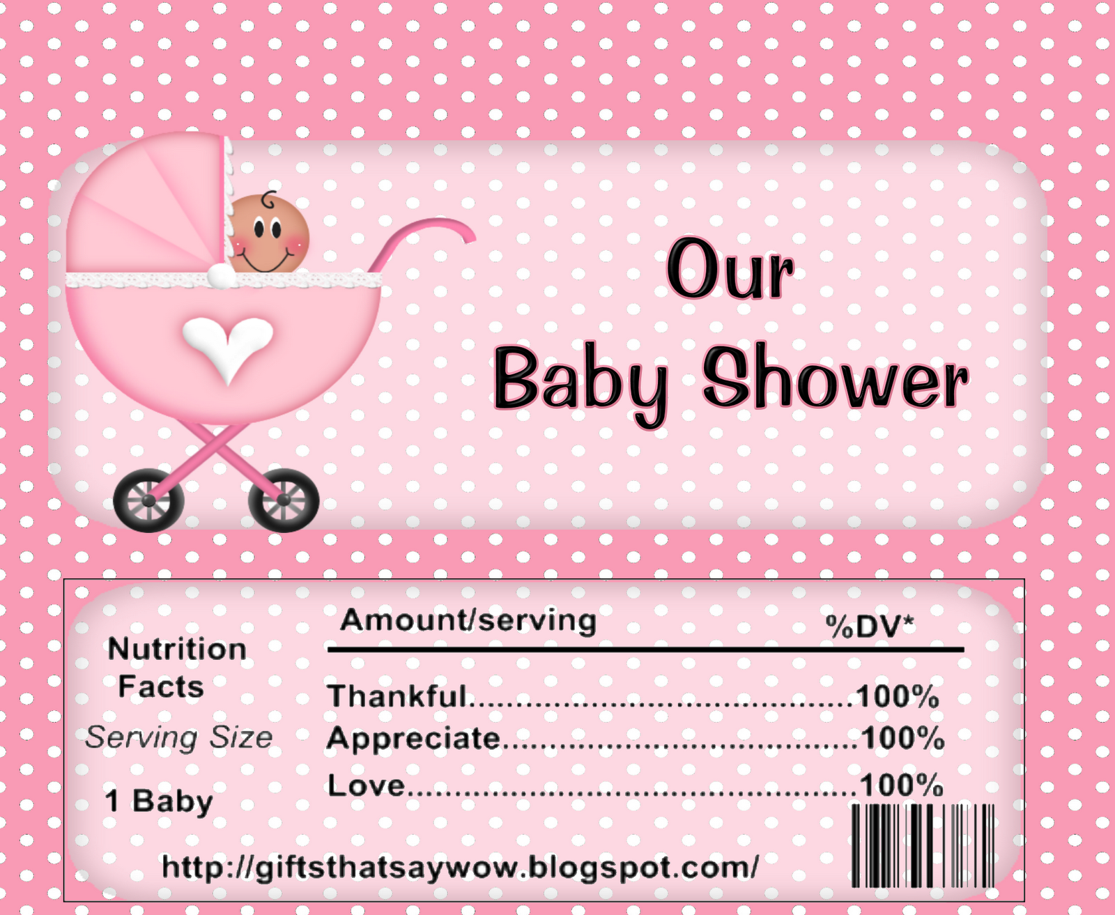 It is a graphic of Mesmerizing Free Printable Baby Shower Candy Bar Wrappers
