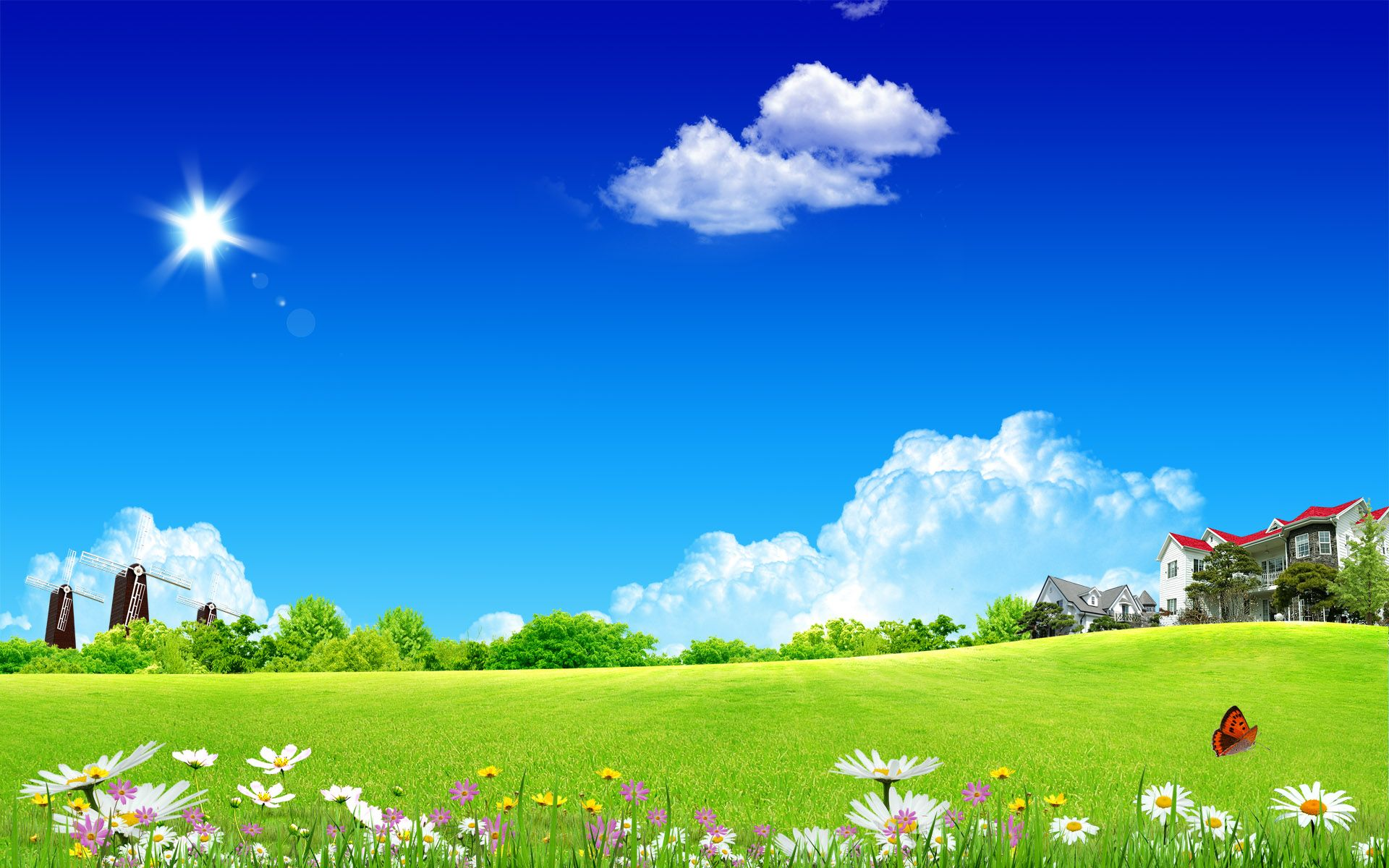 Sunny Landscape Houses Landscape Nature Other Sky Spring Sunny Trees Windmills Nature Wallpaper Natural Scenery Scenery