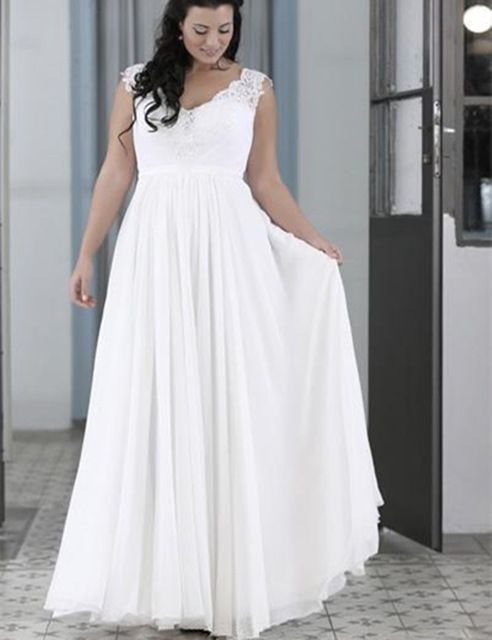 2ecb5860f358 New Casual Beach Plus Size Wedding Dress V Neck Sleeveless Lace Chiffon  Floor Length Bridal Gowns vestidos de noiva Custom