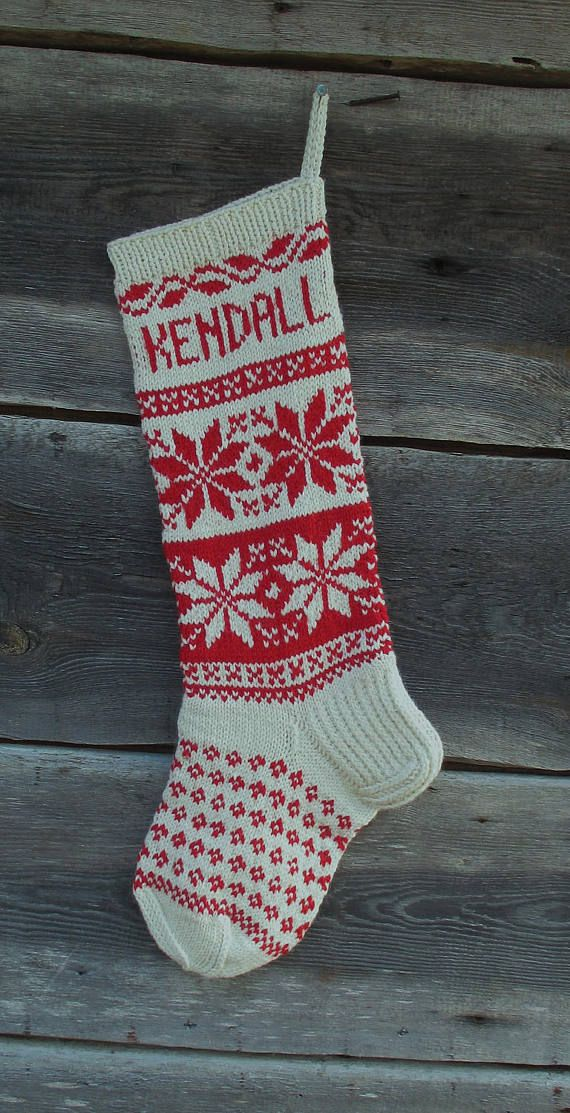 Christmas Stocking Personalized Hand knit Wool Stocking Red White