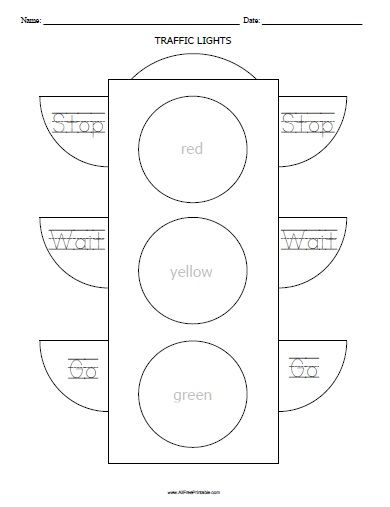 Traffic Lights Worksheet | All Free Printable | Pinterest | Lights ...