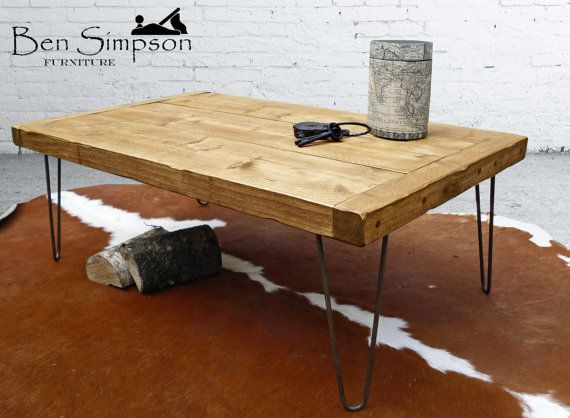 Rustic Coffee Table Solid Wood Industrial Metal Hairpin Legs Chunky ...