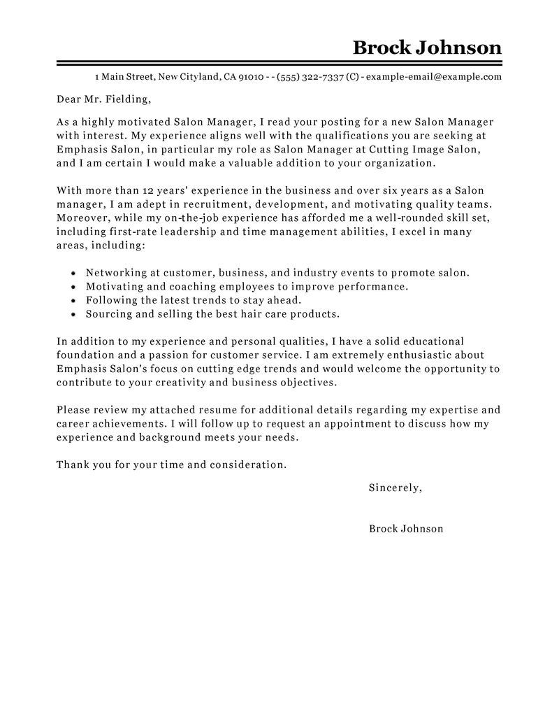 salon manager cover letter sample perfect internship resume genius - Resume Genius Thank You Letter