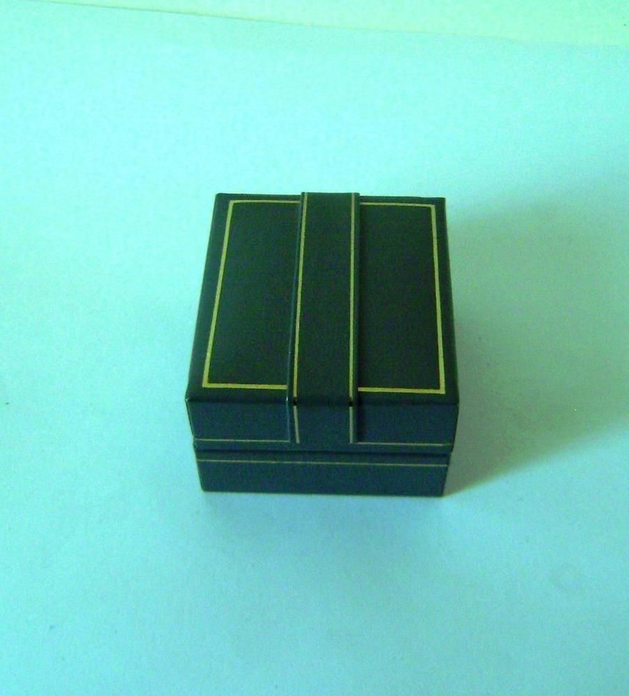 Ring box Jewellery Vintage Gray Leather Gilt Deco 5.2 cm x 3.3 cm x 4.7 cm (N5)