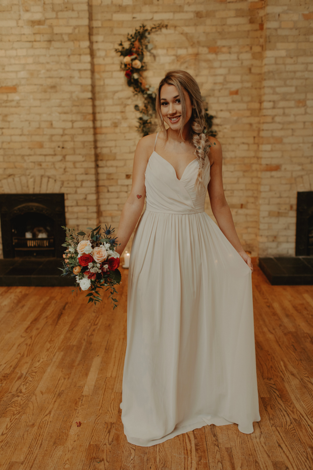Champagne Beige Bridesmaid Dress From An Enchanted Jewel Tone Wedding At Onesto In Milwauk Neutral Bridesmaid Dresses Beige Bridesmaid Dress Bridesmaid Dresses