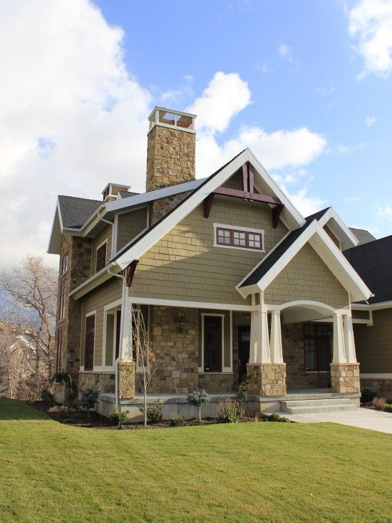 Craftsman Design with tapered square columns. //www ... on outside house paint colours, outside fireplace designs, room colors and designs, outside house design ideas, outside garage designs, outside house lighting design, outside patio designs, outside kitchen designs,