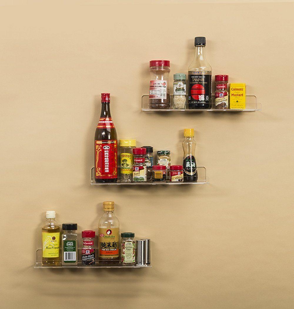 Amazon.com: Clear Wall Ledges Floating Shelves - Set of 3 Acrylic ...
