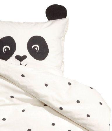 Weiß/Panda. Bettwäsche aus feinfädiger Baumwolle mit Punktemuster ...
