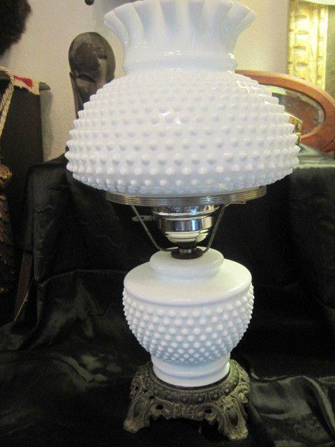 Vintage Hobnail White Milk Glass Lamp Hurricane Lamp Milk Glass