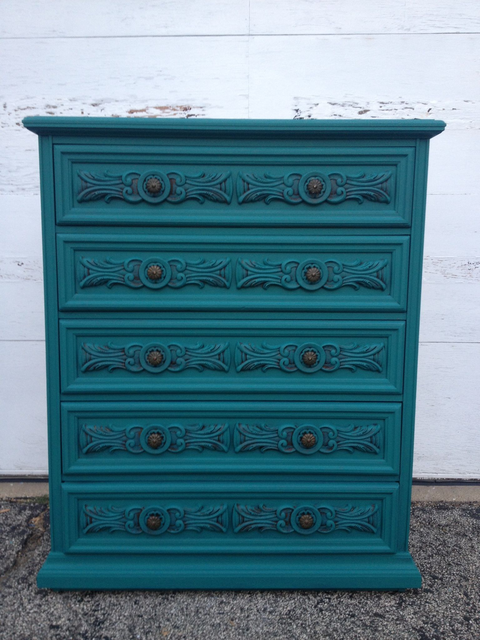 Teal Painted Highboy Dresser By Twice Loved Furniture Creations Unique Dresser Teal Paint