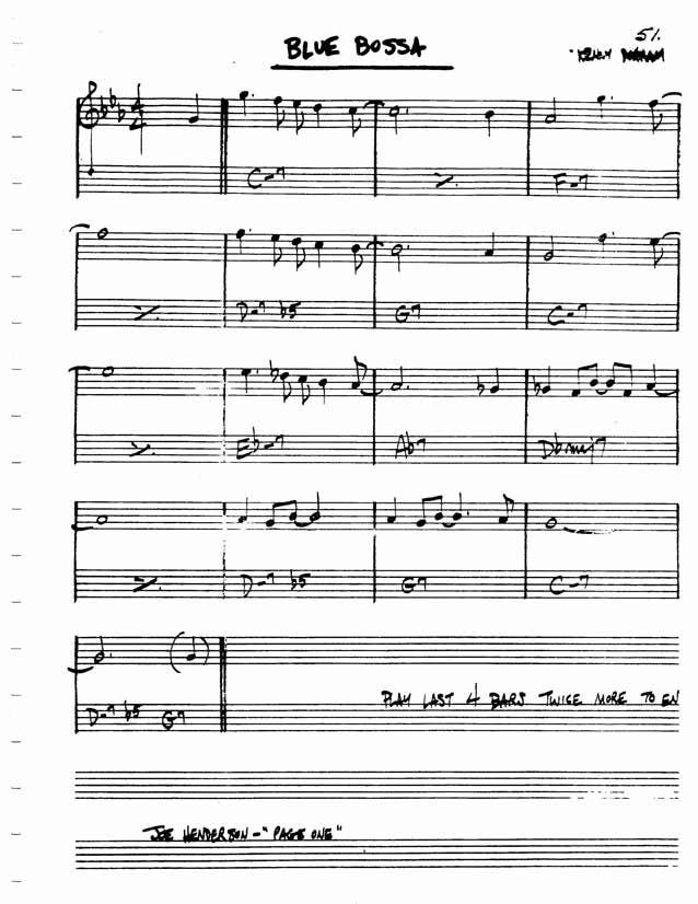 Jazz Standard Realbook Chart Blue Bossa Jazz Standards In 2018