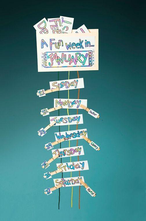 Calendar Clip-On Reminders craft Crafts Pinterest Calendar