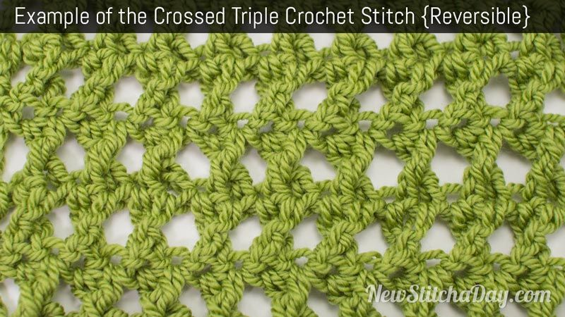 Example of the Crossed Triple Crochet Stitch. (Reversible)  http://newstitchaday.com/how-to-crochet-the-crossed-triple-crochet/?utm_source=New+Stitch+A+Day_campaign=fa36032e6b-RSS_EMAIL_CAMPAIGN_medium=email_term=0_5fdf4684f8-fa36032e6b-303732297