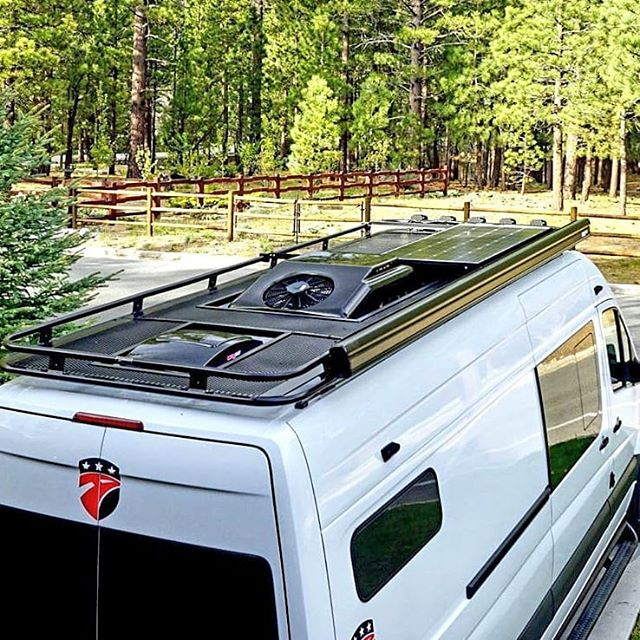 Aluminess Roof Rack Built To Accomodate Vents Air Conditioner And Solar Panels In 2020 Solar Panels Van Life Roof