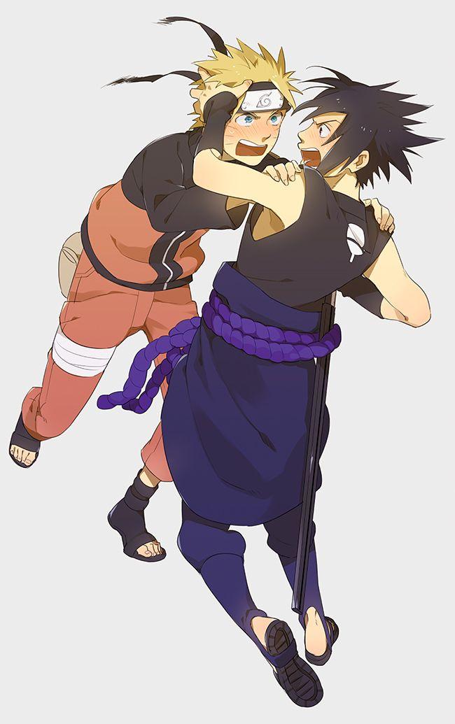 Sensei97, NARUTO, Uzumaki Naruto, Uchiha Sasuke, Hand on Shoulder, Rope