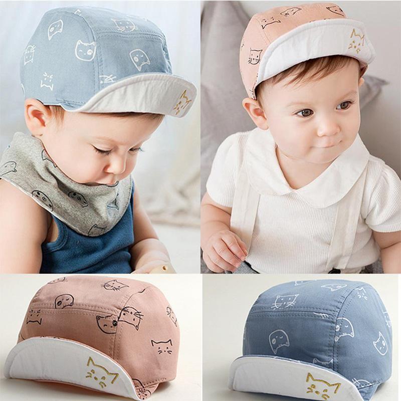 Cute Newborn Toddler Kids Baby Girl Boy Visor Baseball Cat Ear Cap Summer Hat