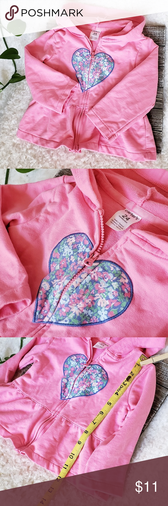 Carter's Pink w/ Embroidered Heart Toddler Hoodie (With