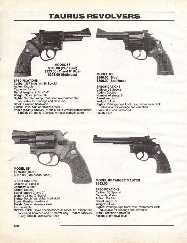 1995 TAURUS Model 66, 83, 85, 86 REVOLVER AD w/ specs