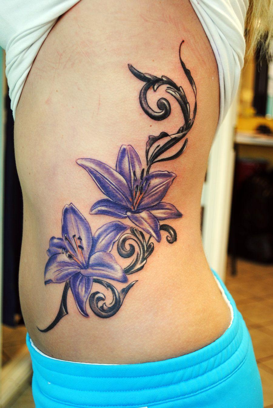 Purple Flowers Feminine Tattoo On Side Beautiful Flower Tattoo On