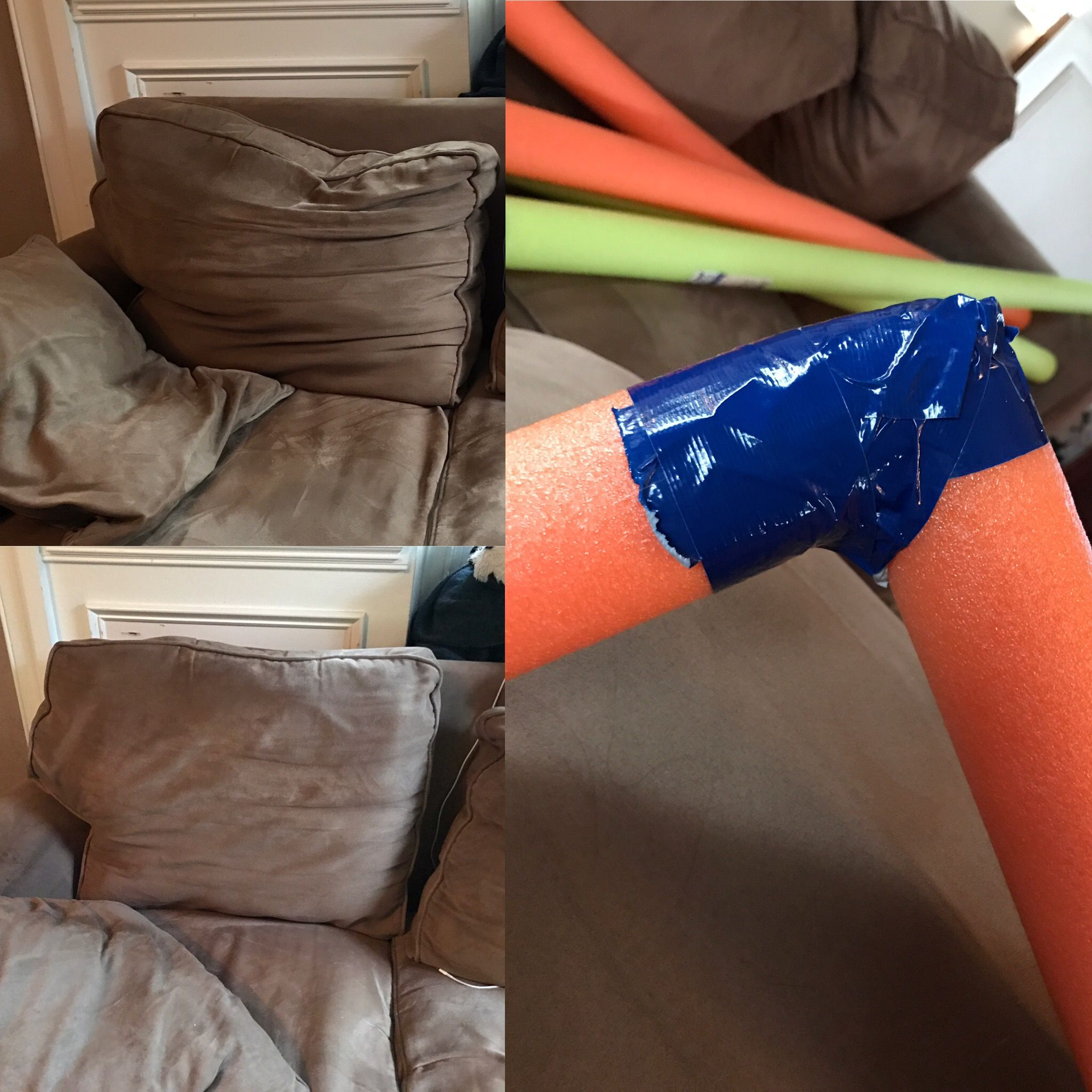 Fix Sagging Couch Sofa Pillows With Pool Noodles And Duct Tape