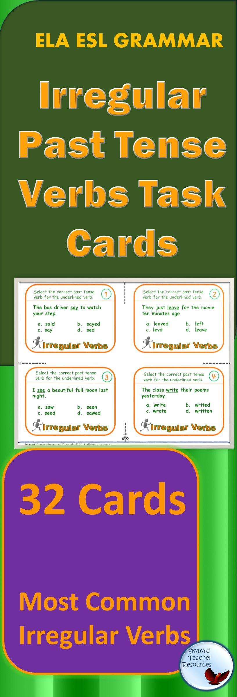 Vocabulary Task Cards Irregular Tense Verbs