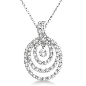 Triple circle diamond pendant necklace 14k white gold 035ct triple circle diamond pendant necklace 14k white gold 035ct mozeypictures Image collections