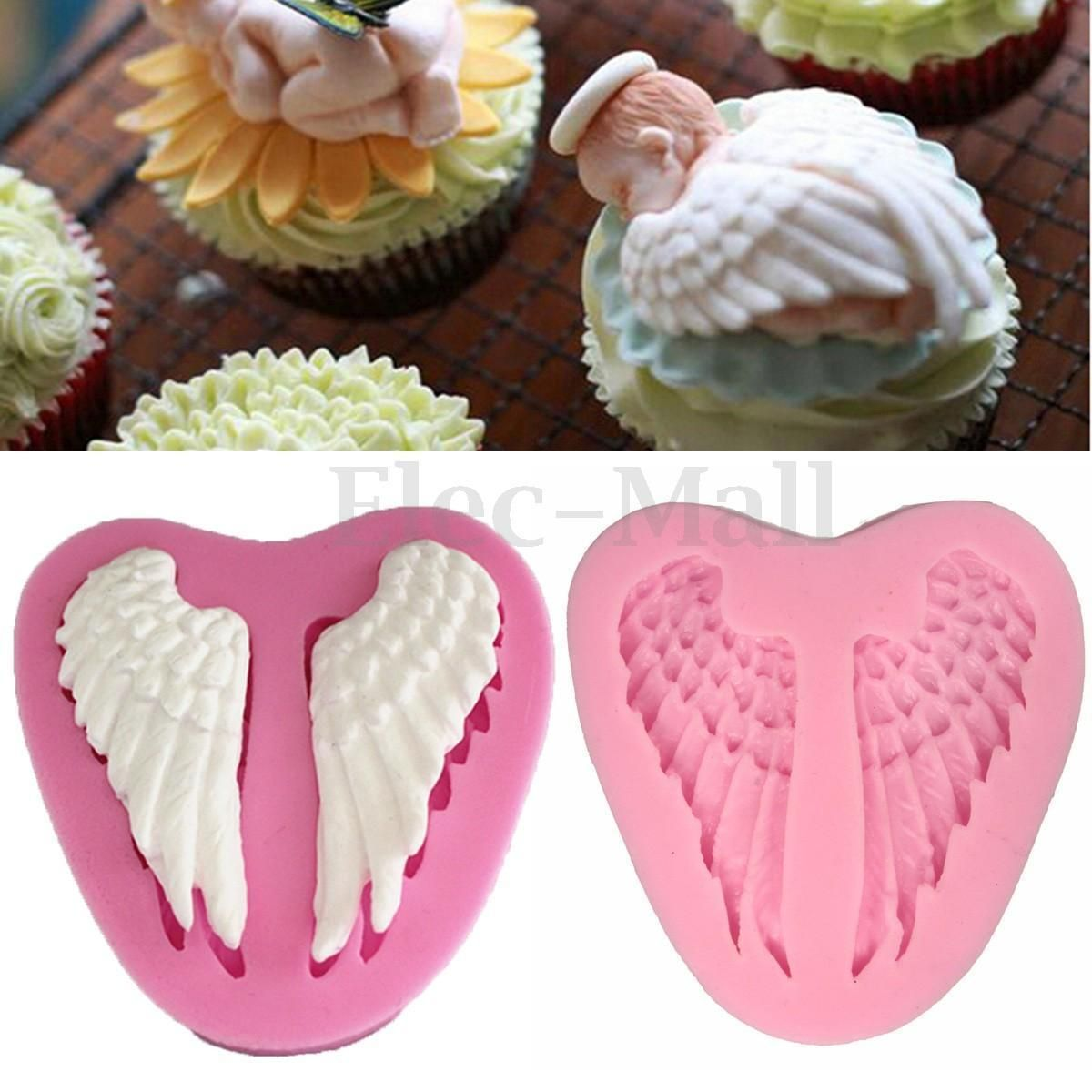 silicone mold resin clay heart wings mold decor for chocolate cake baking tools