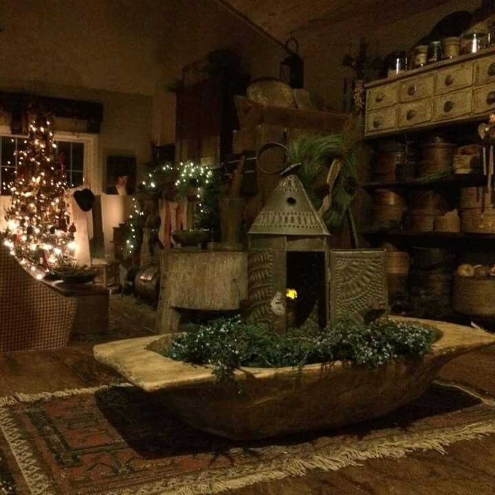 Primitive Christmas Decorating: Rustic Home Decked Out For Christmas