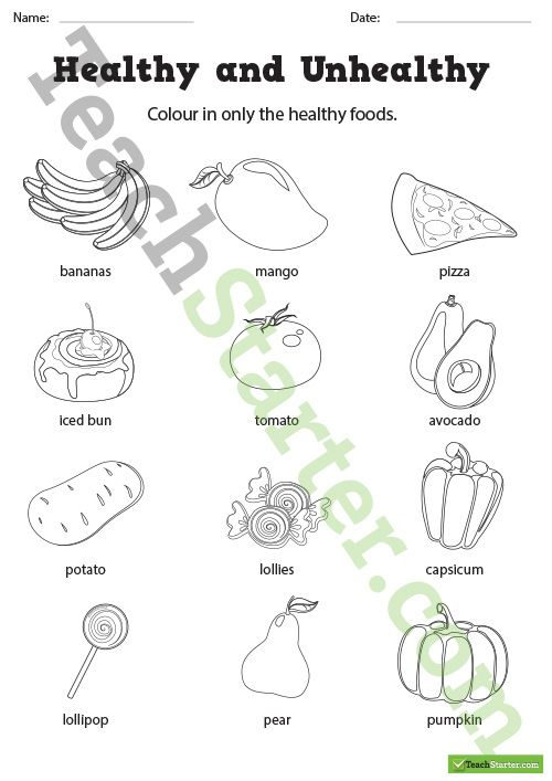Healthy And Unhealthy Food Choices Worksheets Teaching Resource Teach Starter Healthy And Unhealthy Food Healthy And Unhealthy Teaching Unhealthy food worksheet for