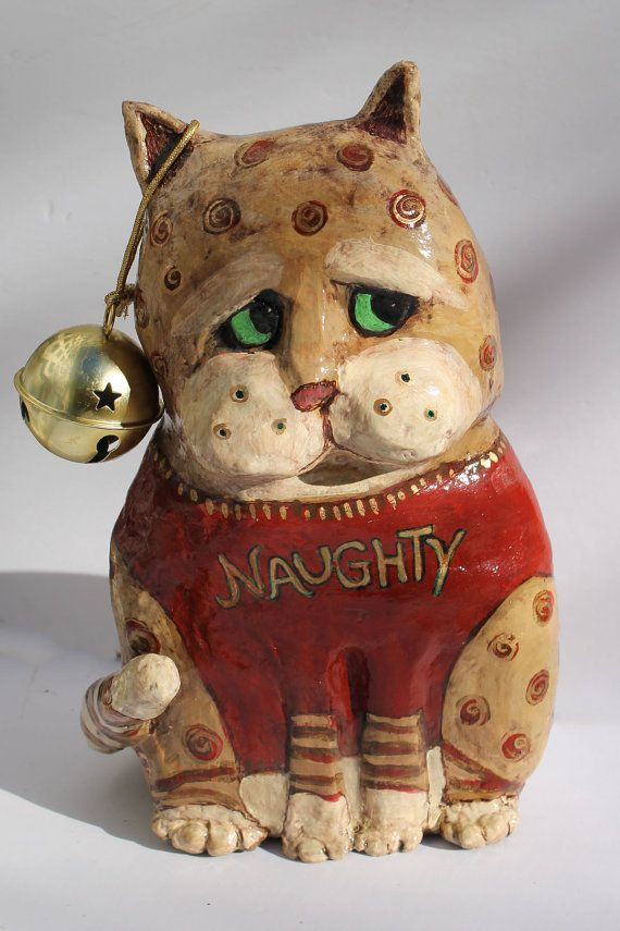 Pouncer the Naughty Cat  Paper Mache Clay Cat by GinsLilCharacters