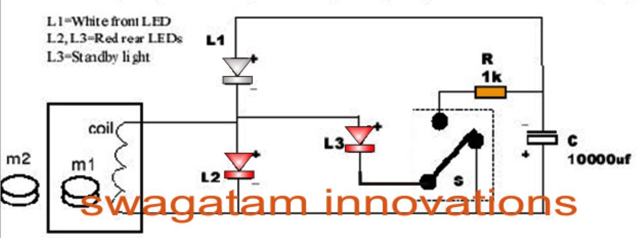 Free Energy Bicycle Generator With Flashing Light Circuit Circuit