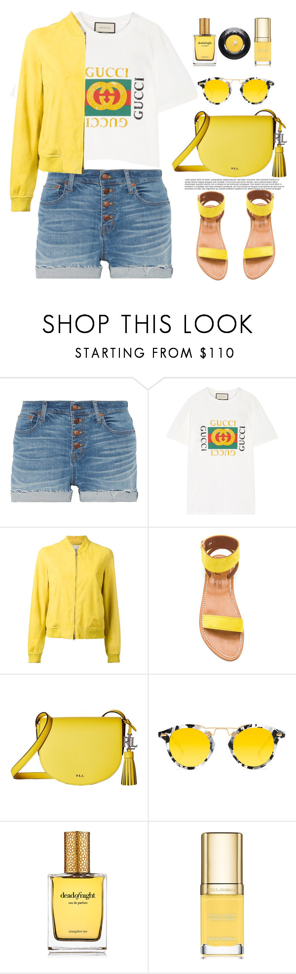 """""""Untitled #709"""" by jovana-p-com ❤ liked on Polyvore featuring Madewell, Gucci, Herno, K. Jacques, Lauren Ralph Lauren, Krewe, Strangelove NYC, Dolce&Gabbana and Lancôme"""