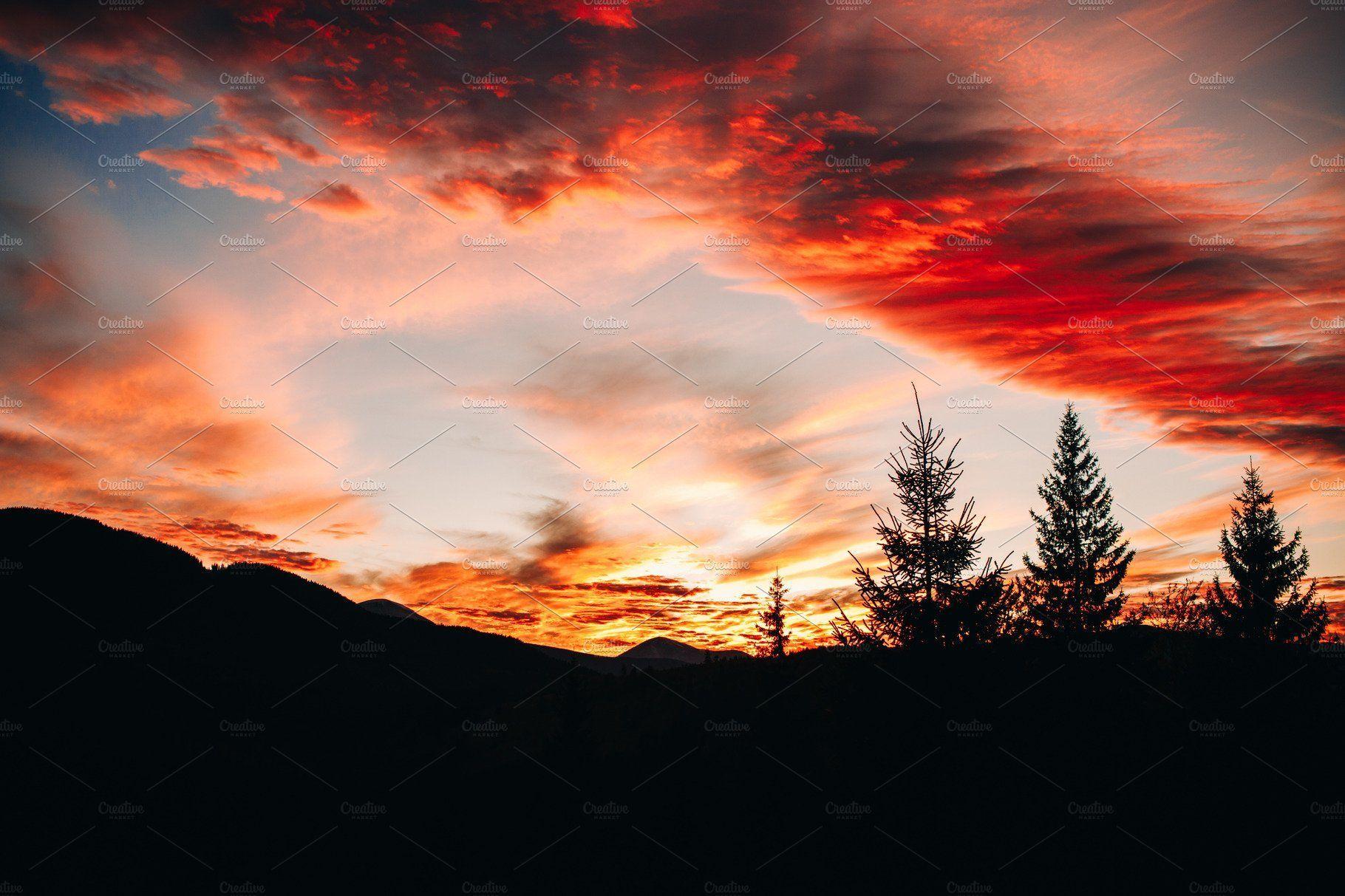 Beautiful Sunset In The Mountains Beautiful Sunset Landscape Scenery Mountain Paintings