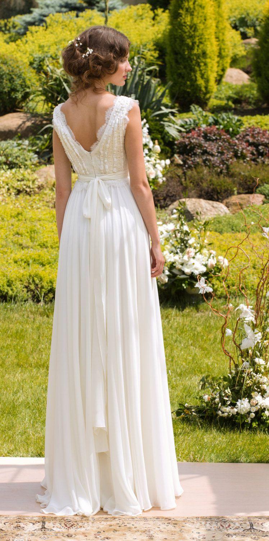 Designer wedding dress bohemian wedding gown made from chiffon