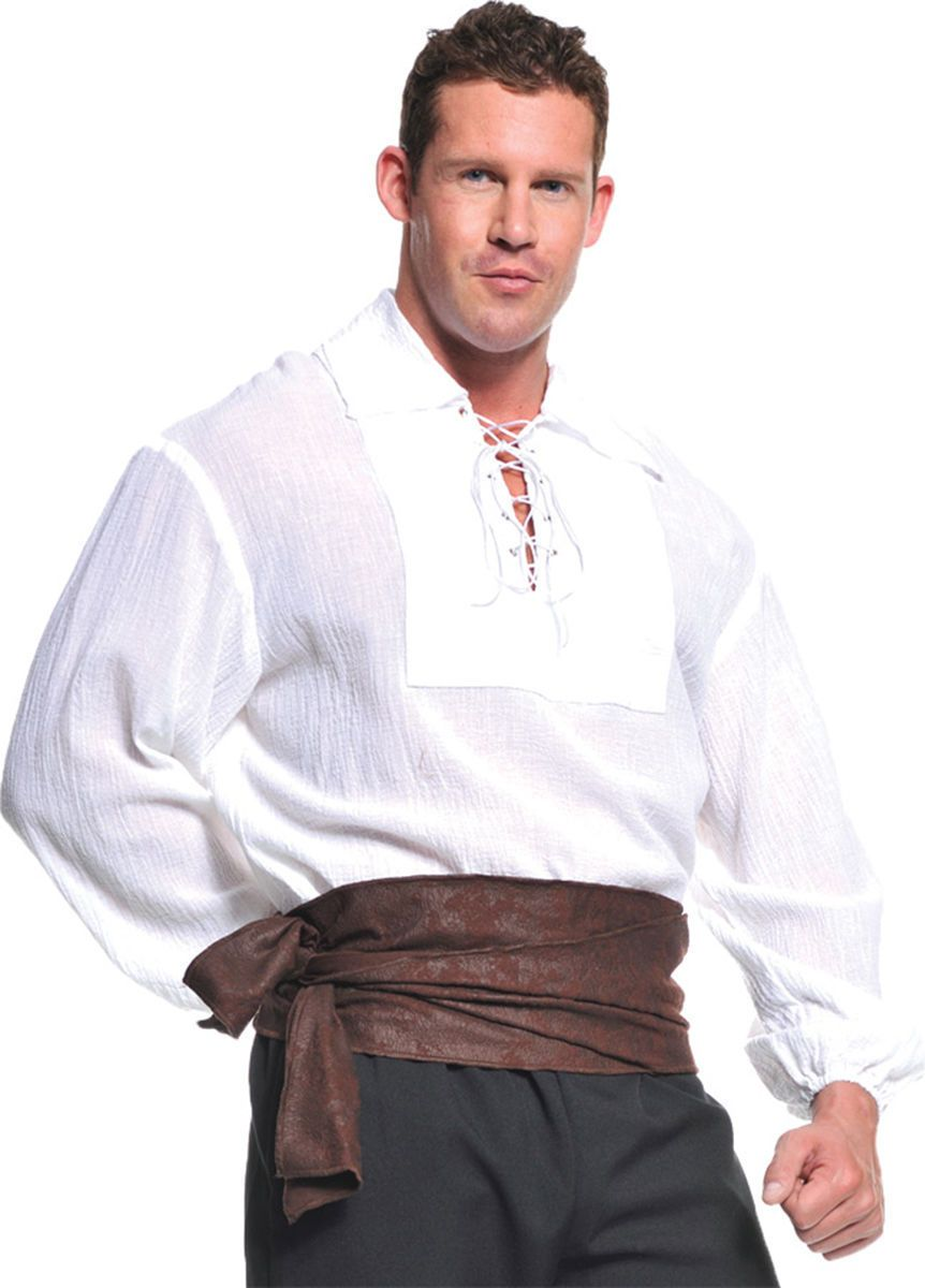Mens Medieval Long Sleeve Shirt Renaissance Faire Male Tops Party Show T Shirt