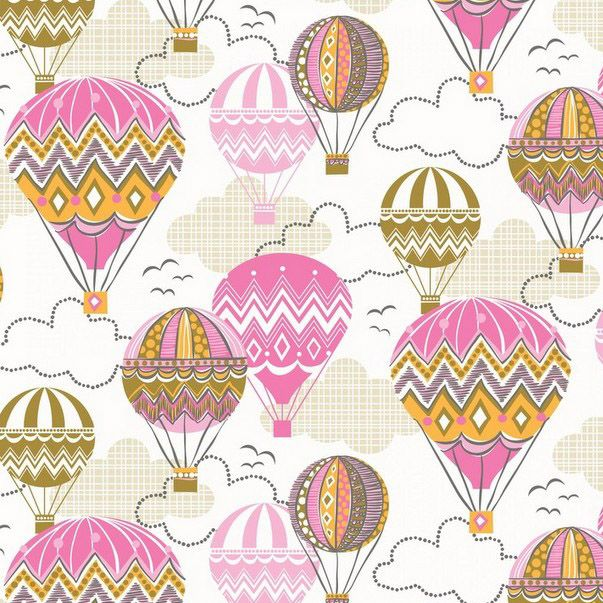 Fabric... Blown Away Balloon Ride in Pink by Blend Fabrics