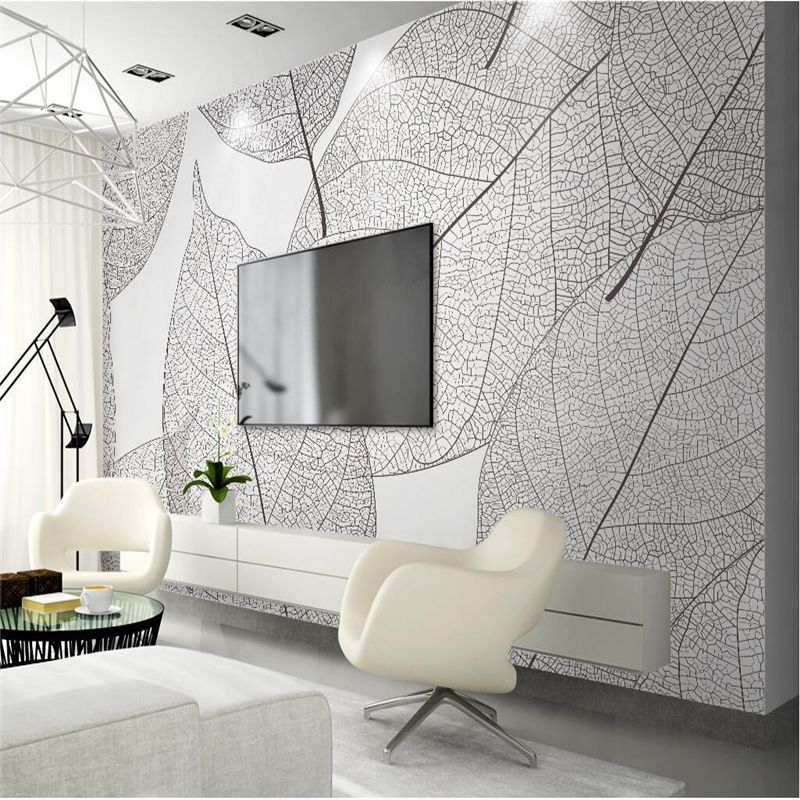 Vintage Wallpapers 3d Stereoscopic Leaf Photo Wall Murals White Black Texture Wallpapers Wall Papers Fo Black Textured Wallpaper Textured Wallpaper Wall Murals #textured #wall #in #living #room